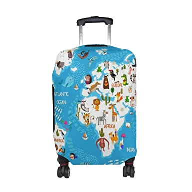 Amazon u life cute animal world map luggage suitcase cover u life cute animal world map luggage suitcase cover protector for kids men women gumiabroncs Gallery