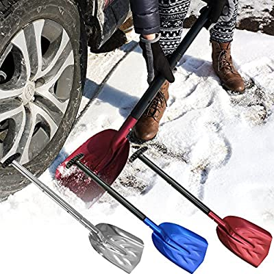 CASL Brands Collapsible Utility Shovel with 8-Inch x 11-Inch Blade, Telescoping Handle and Carrying Bag, Multiple Color Options