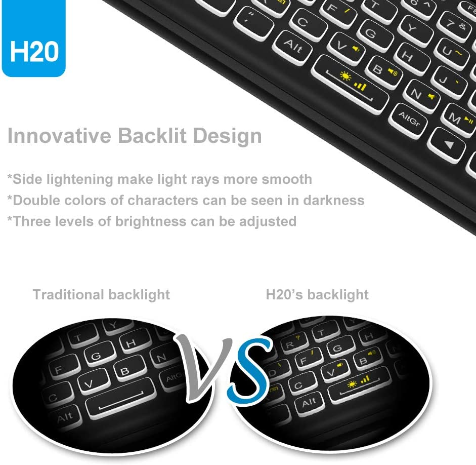Mini Wireless Keyboard,H20 Mini Keyboard with Touchpad,Colorful Backlit Small Wireless Keyboard,Full Size Touchpad,Handheld IR Remote Keyboard for Android TV Box Windows PC,HTPC,IPTV,PC,Raspberry Pi 4