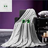 Trippy waterproof blanket High-Tech Hardware Circuit Board Backdrop with Eye Forms Digital Picture plush blanket Pearl Black Jade Green size:51''x31.5''
