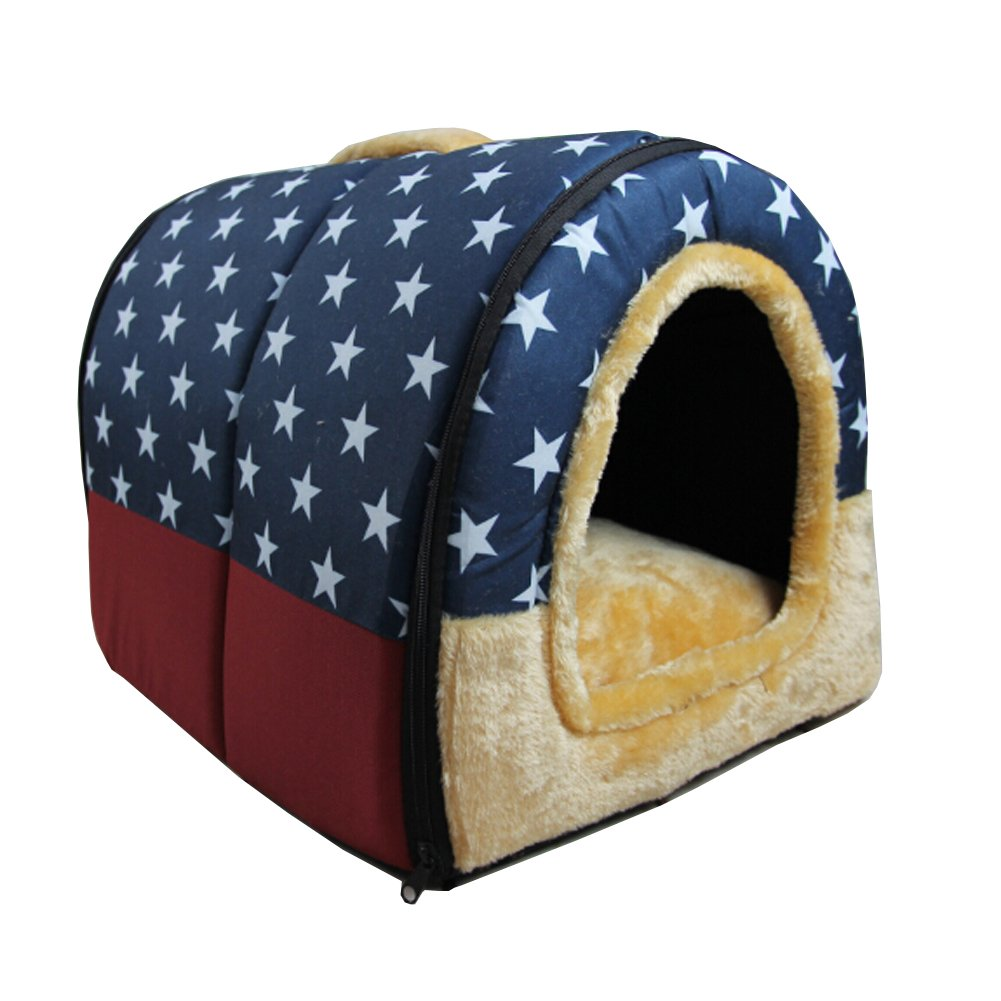 bluee Star LLalawow Pet Dog House Cat Indoor Room Padded Foldable Crates Kennels Bed (M, Coffee)