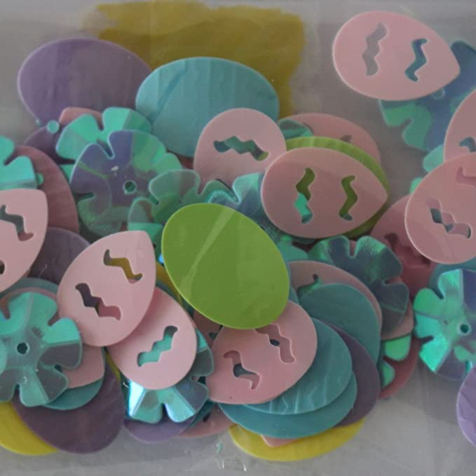 Easter Confetti 25g assortment of 5 different shaped sequins in a variety.