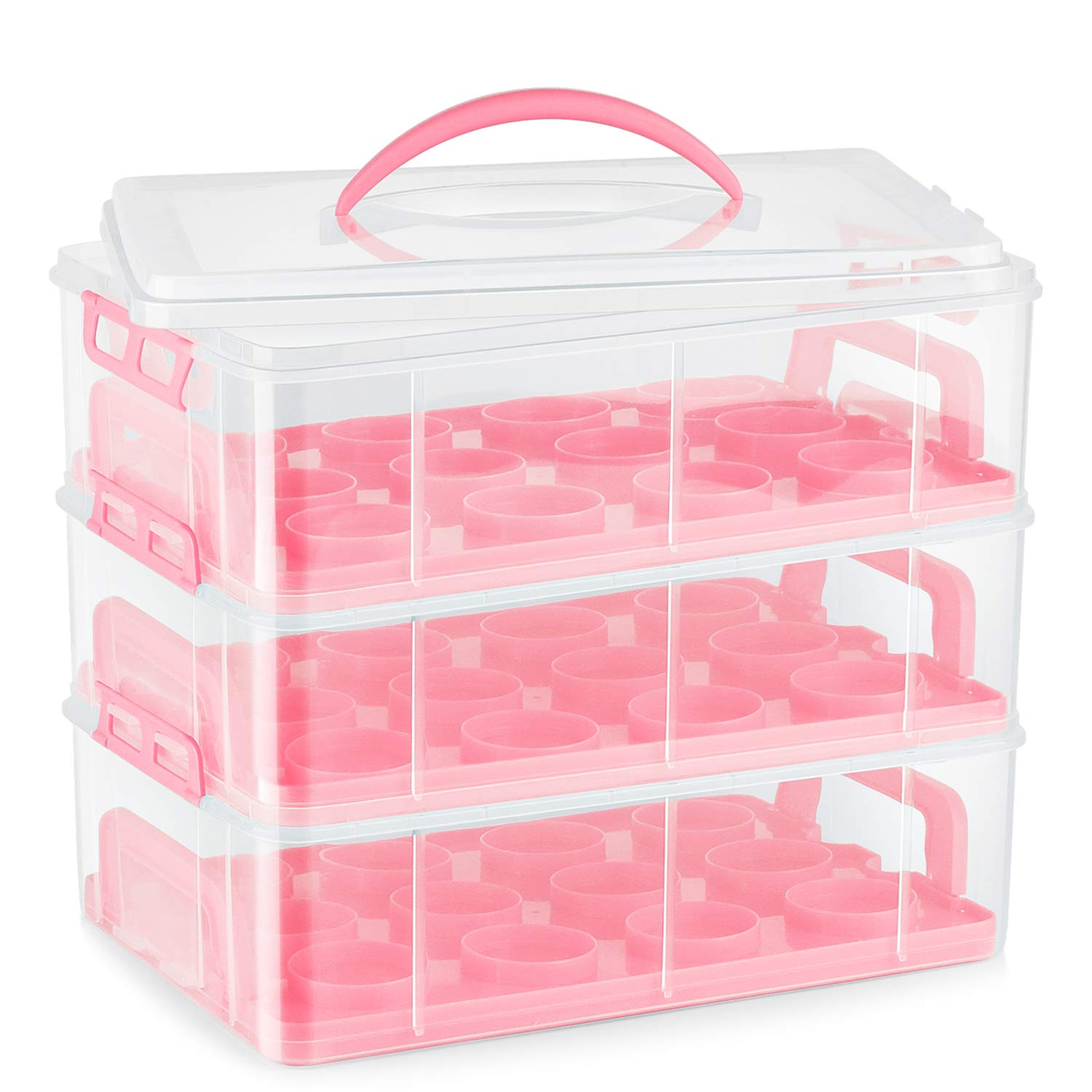 Flexzion Cupcake Carrier Holder Container Box (36 Slot, 3 Tier) - 36 Cupcakes Slot or 3 Large Cakes Pastry Clear Plastic Storage Basket Taker Courier with 3 Tier Stackable Layer Insert (Pink) by Flexzion