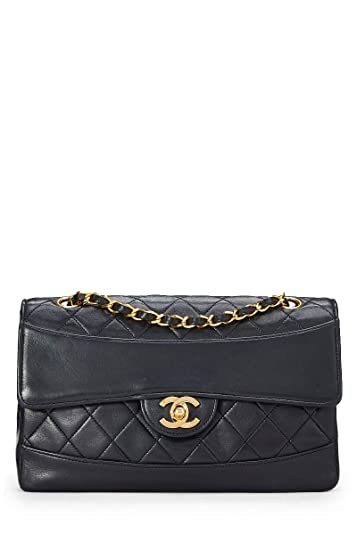 3e5db28825 CHANEL Black Quilted Lambskin Border Flap Small (Pre-Owned): Handbags:  Amazon.com