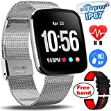 IP67 Waterproof Smart Watch Multisport Fitness Activity Tracker for Men Women with Heart Rate Blood Pressure Sleep Monitor Pedometer Wearable Wristband for Summer Sport Outdoor Travel (Silver)