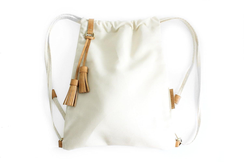 Vale BACKPACK, mochila tejido y cuero, de tejido technico IMPERMEABLE beige. Personalizada con tus iniciales.