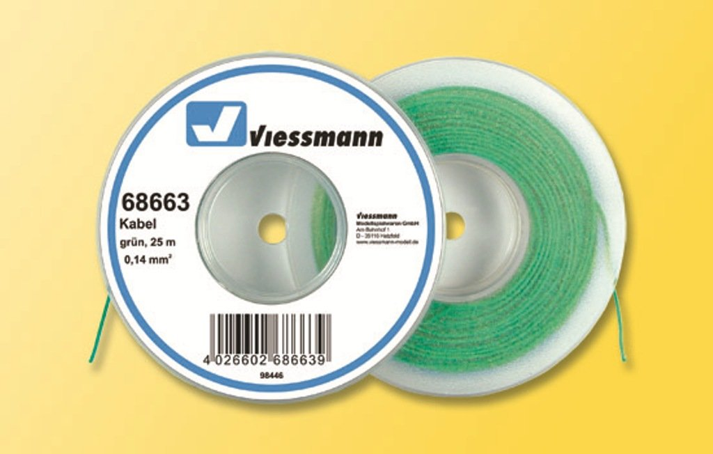 Viessmann 68663 Kabel 0,14 mm² grün 25m