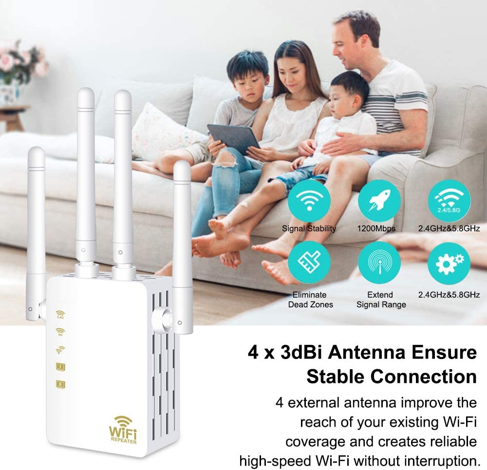 Extends WiFi to Smart Home /& Alexa Devices Aigital AC1200 WiFi Extender 4 Antennas Dual Band WiFi Signal Booster Range Extender Wireless Repeater Amplifier 5GHz for Router//Modem Easy Set-Up WPS