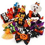 Didog 20 pcs Halloween Dog Cat Hair Bow with Ghosts and Pumpkin