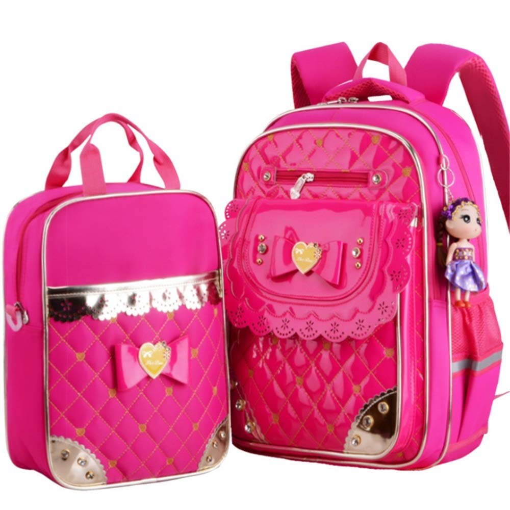 Fuchsia Chengzuoqing Students school bag Durable PU Leather Cute Bowknot 2 In 1 Girls Backpack Sets Pack Of Students Backpack Bookbag School Bags Sets Lightweight Student Backpacks (color   Pink)