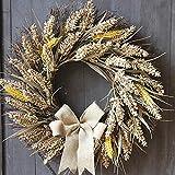 17.7inch Large Grains Wreaths Christmas Decoration Farmhouse Wall Decor Outdoor Indoor Decor Garlands (Beige)