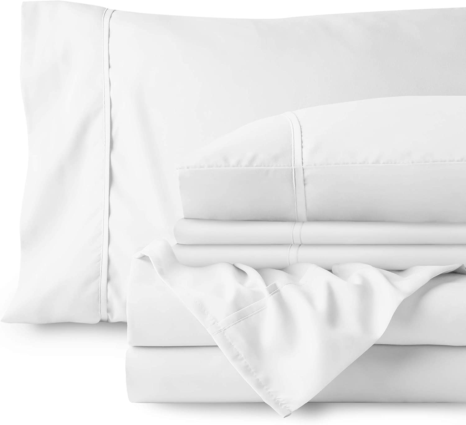 Bare Home Bedding Bundle - 6 Piece Microfiber Sheet Set with 4 Pillowcases (Queen, Cool White)