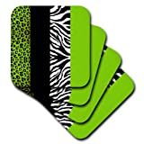 3dRose CST_35440_3 Lime Green Black and White