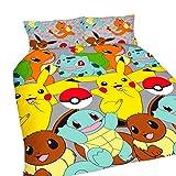 Pokemon Childrens/Kids Official Catch Reversible Duvet Cover Bedding Set (Full) (Multicolored)