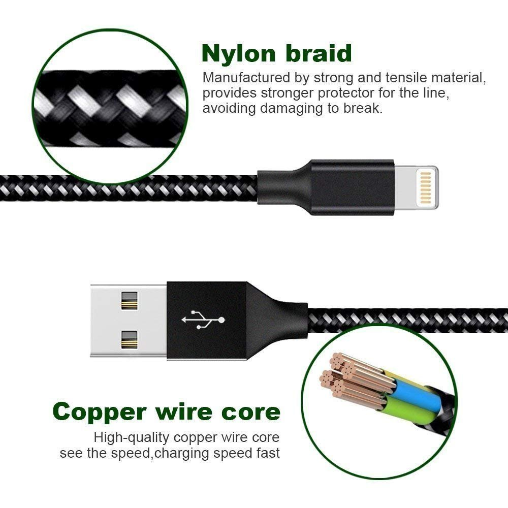 Loopilops Compatible iPhone,Lightning Cables [4-Packs] 3FT 6FT 6FT 10FT Syncing Data and Nylon Braided Cord Charger iPhone X/8/8Plus/7/7Plus/6/6Plus/6s/6sPlus/5/5s/5c/SE and More (Black&White) by Loopilops (Image #4)