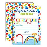 """Splash Pad Wet and Wild Fun Birthday Party Invitations for Boys, 20 5""""x7"""" Fill in Cards with Twenty White Envelopes by AmandaCreation"""