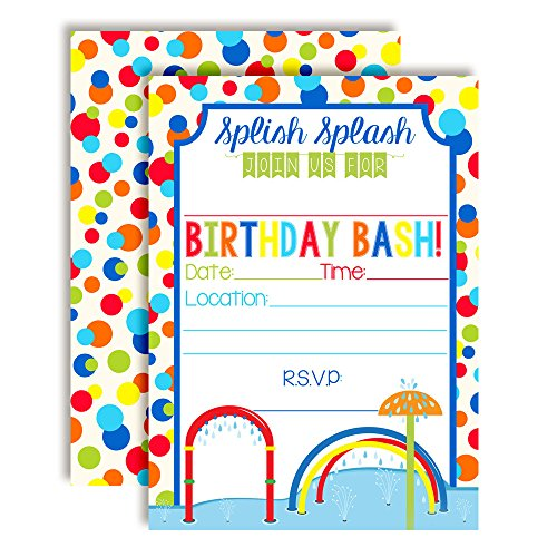 (Splash Pad Wet and Wild Fun Birthday Party Invitations for Boys, 20 5