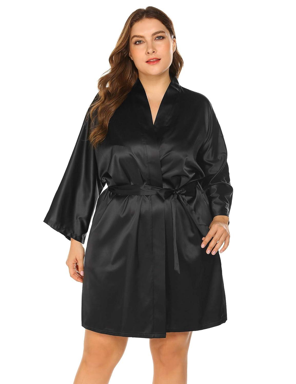 INVOLAND Womens Kimono Dressing Gown Plus Size Satin Robes Bathrobe Silk Sleepwear Bridal Wedding Party Robes