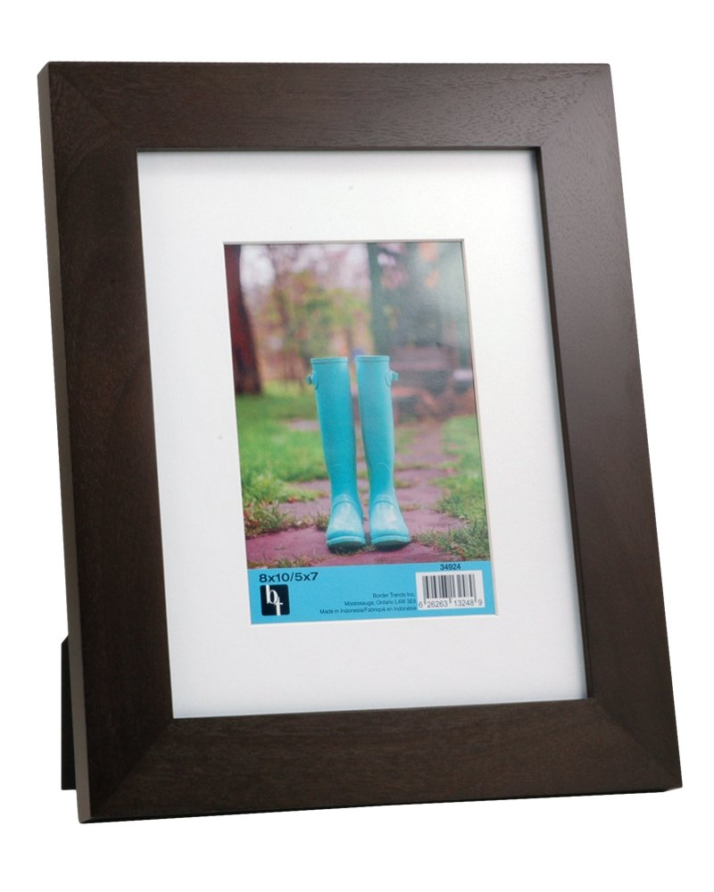 BorderTrends Timber 8x10//5x7-Inch Solid Wood Photo Frame Brown with White Mat