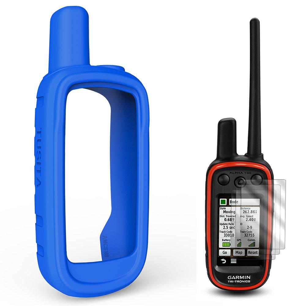 TUSITA Housse de Protection pour GPS portatif Garmin Alpha 100, Accessoires de Cas de Peau de Silicone avec Protecteur d'écran