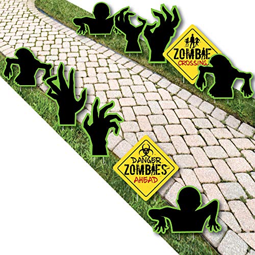 Zombie Zone - Sign and Zombie Hand Lawn Decorations - Outdoor Halloween or Birthday Zombie Crawl Party Yard Decorations - 10 Piece]()