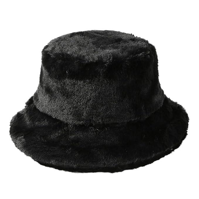 Tngan Winter Bucket Hat Women Men Warm Hats Vintage Faux Fur Fisherman Cap  Black 5a07e978699