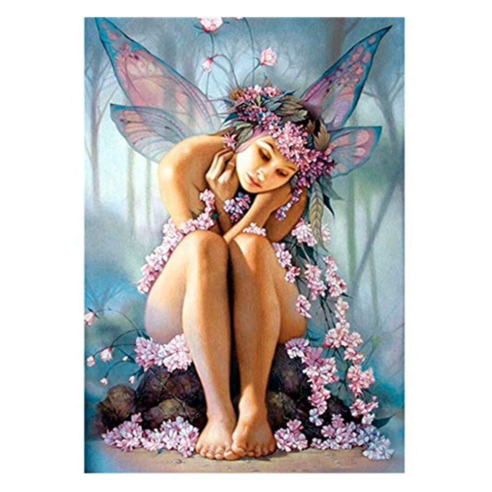 Kingko® 5D Diamond Painting Set, Butterfly Fairy Embroidery Rhinestone - Cross Stitch Embroidery Set - Rhinestone Sticker Home Wall Decoration Gift (Multicolor)