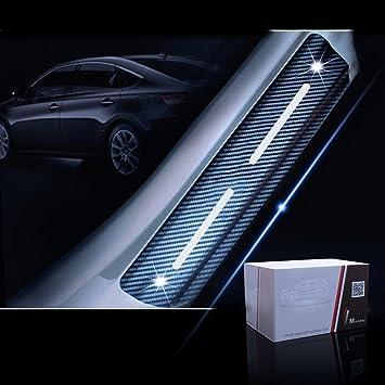 SENYAZON 4D Carbon Fiber Reflective Car Door Sills Sticker for All Car Scuff Welcome Plate Stickers Vinyl Sticker Car-Styling red