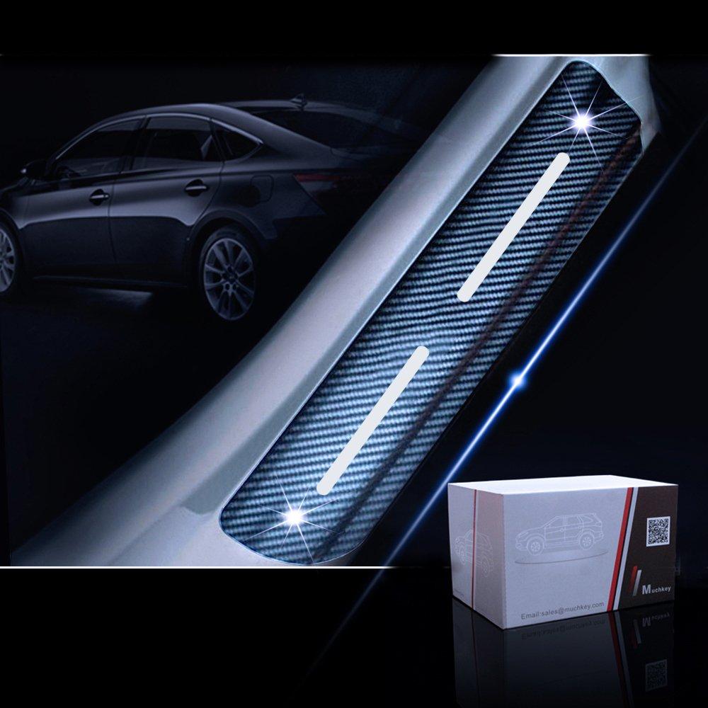 SENYAZON F-150 Decals Carbon Fibre Vinyl Reflective Car Door Sill Decoration Scuff Plate for Ford F-150 Car Accessories Blue