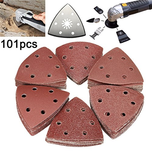 Letbo New 100pcs 60-240 Grit Triangle Sanding Sheets Paper with Sander Grinder Plate