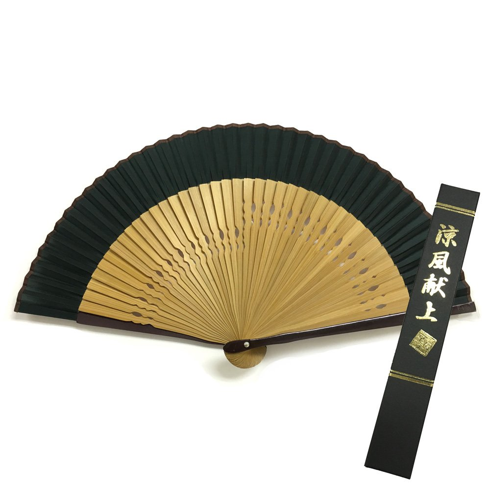Japanese Silk folding fan /green / With premium fan box by sensu-ya