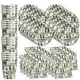 Money $100 Dollar Bills Birthday Party Supplies Set Plates Napkins Cups Tableware Kit for 16