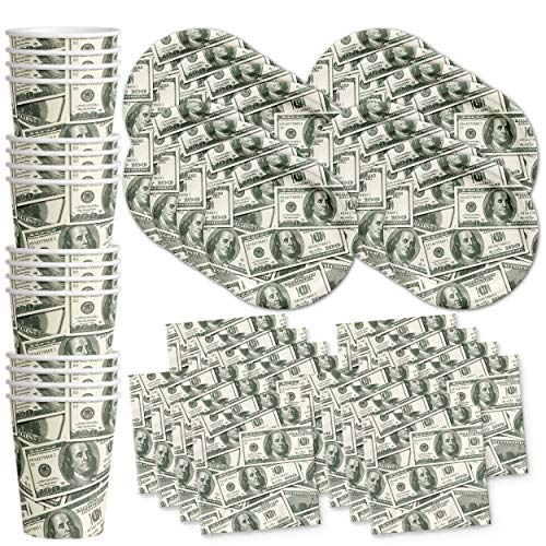 Money $100 Dollar Bills Birthday Party Supplies Set Plates Napkins Cups Tableware Kit for 16 -