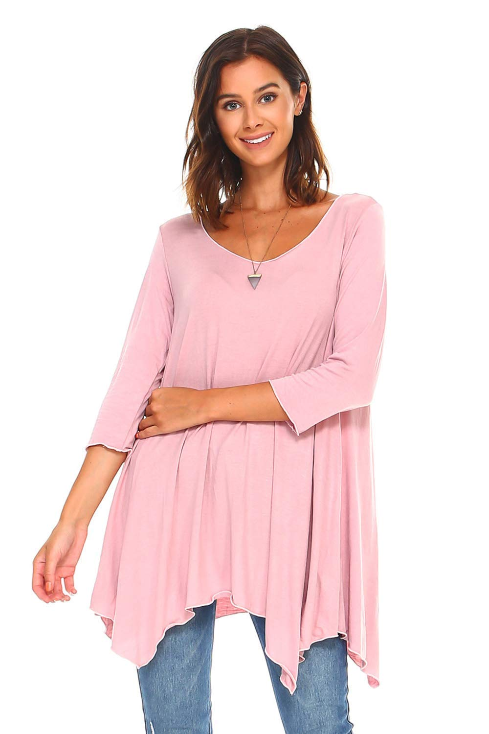 1e41865d222 Simplicitie Women's 3/4 Sleeve Loose Fit Flare Swing T Shirt Tunic Top -  Mauve