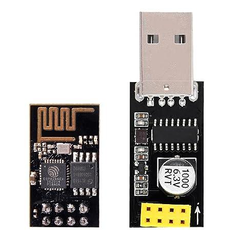 IZOKEE ESP8266 ESP-01 Módulo Transmisor-Receptor WiFi con Adaptador USB para Arduino UNO