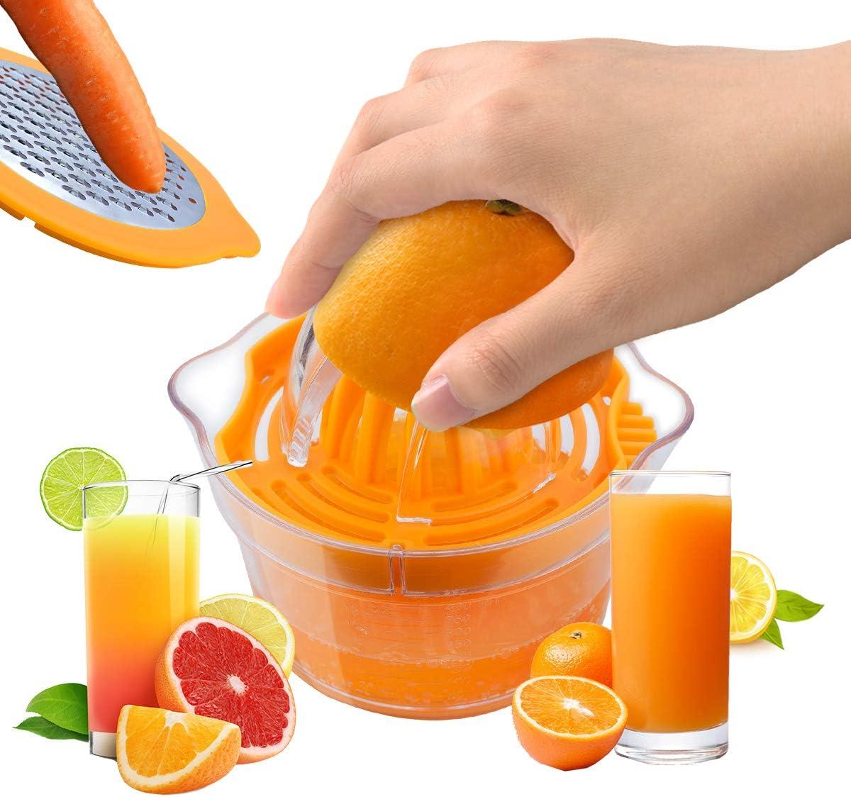 Citrus Juicer, 4 in 1 Manual Lemon Orange Juicer Hand Squeezer with Reamer, Grater, Egg Yolk Separetor and Built-in Measuring Cup, Ratation Squeezer for Oranges, Lemons, Limes, 12OZ