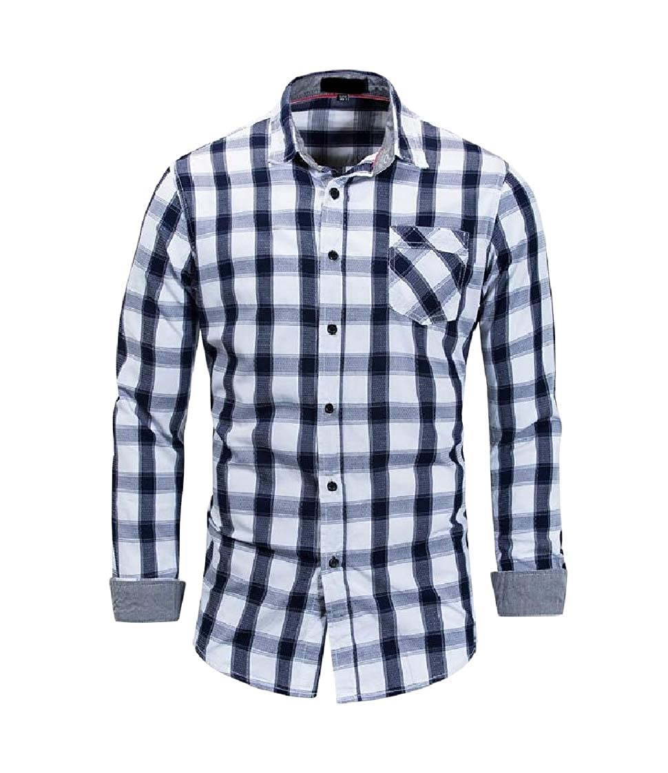Lutratocro Mens Long-Sleeve Stylish Button-Down Cotton Slim Plaid Shirts