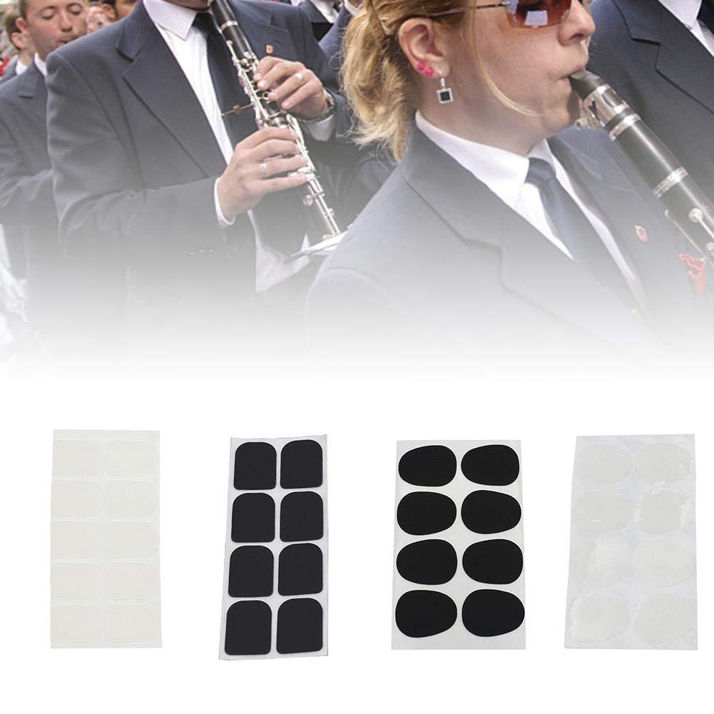 Sax Bec de Clarinette Patches Pads Coussins coussins de dents saxophone lembouchure de Saxophone soprano Alto barytons Aigus t/énor Clarinet 0.8mm et 0.3mm Noir Transparent