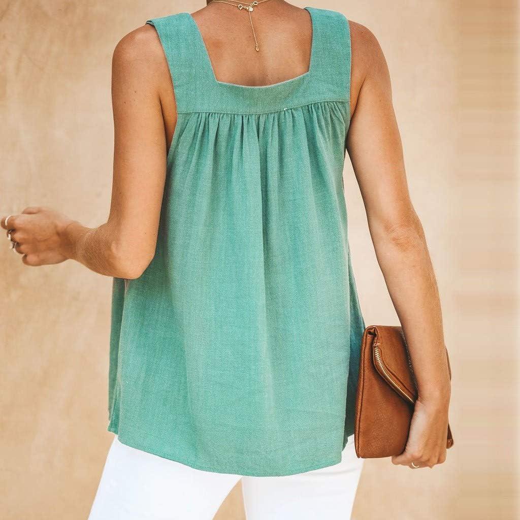 Damen Sommer T-Shirt mit V-Ausschnitt Feste Knopfweste lose beil/äufige /ärmellose Blusen Tank Tops