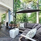 ABCCANOPY 10' Hanging Umbrella Cantilever Umbrella Offset Patio Umbrella Outdoor Market Umbrella Easy Open Lift 360 Degree Rotation (Dark Grey)