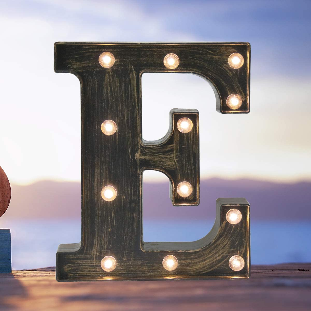 Industrial LED Marquee Letter Lights 26 Alphabet Light Up Name Sign Vintage Style Letter Lamp for Birthday Party Christmas Perfect for Events or Home Bar Decor(Letter E)