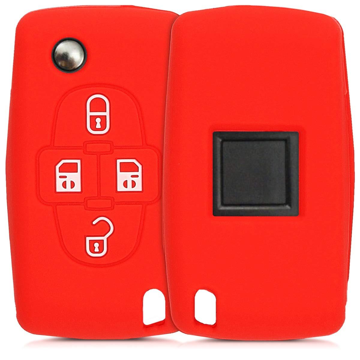 kwmobile Funda de Silicona para Llave de 4 Botones para Coche Peugeot Citroen - Carcasa Protectora Suave de Silicona - Case Mando de Auto Rojo