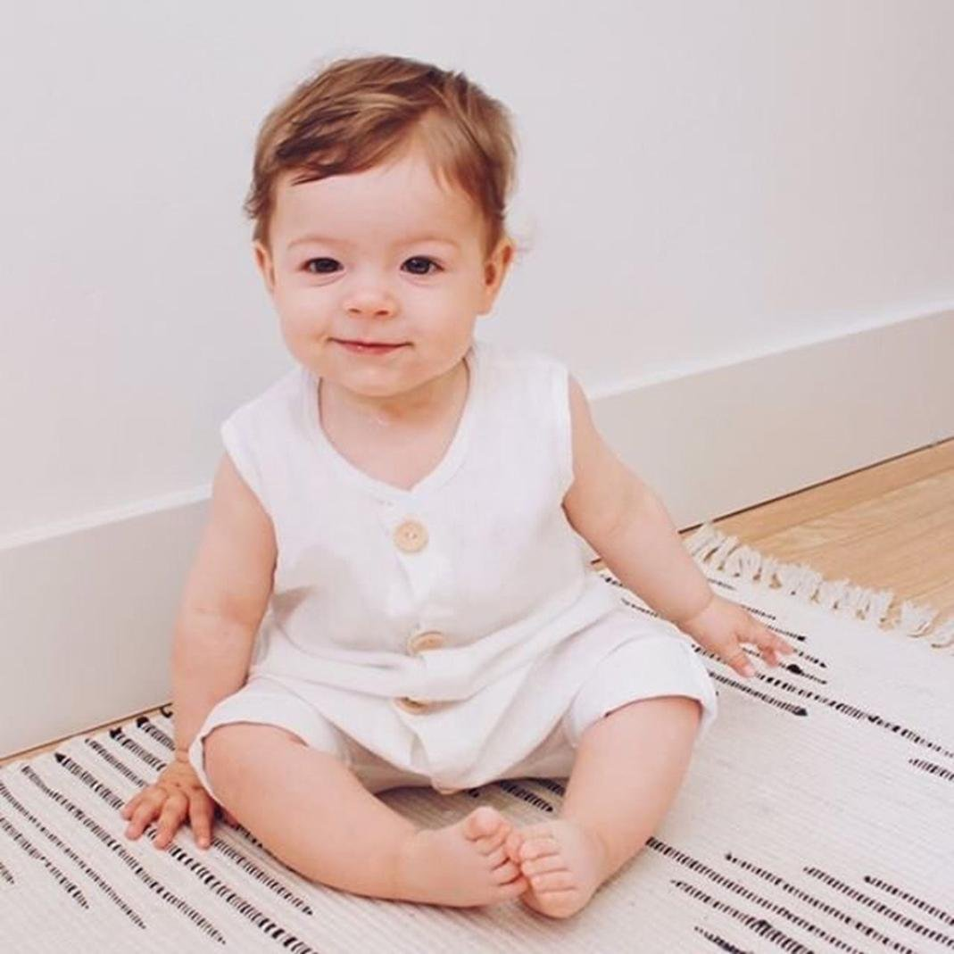 5c1edd3f57df Franterd Baby Solid White Rompers with Big Button Kid Sleeveless Playsuit  Jumpsuits One-piece Pants