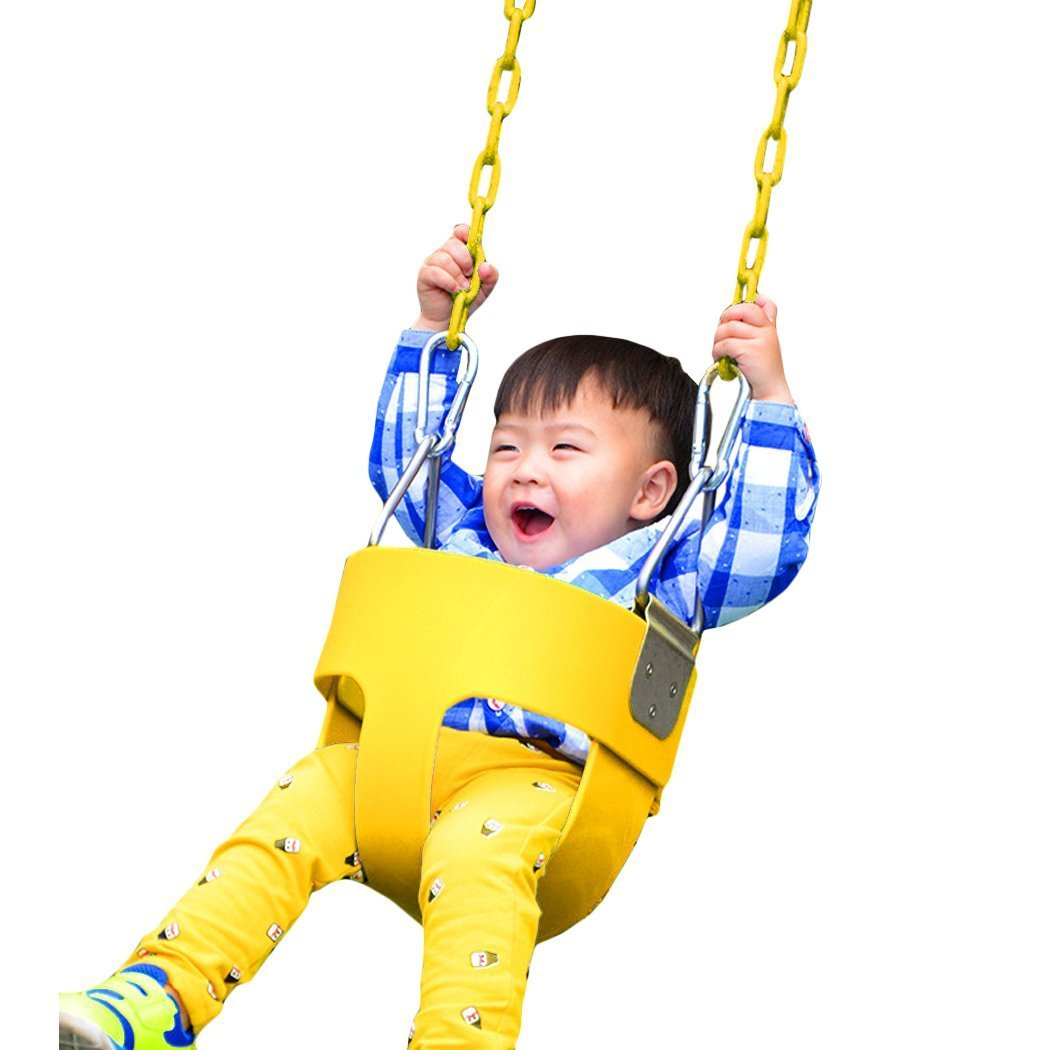 Techcell Infant Hammock Chairs High Back Full Bucket Toddler Swing Seat with Plastic Heavy Duty Coated Chains - Swing Set Accessories-Locking Snap Hooks (Yellow) by Techcell (Image #7)