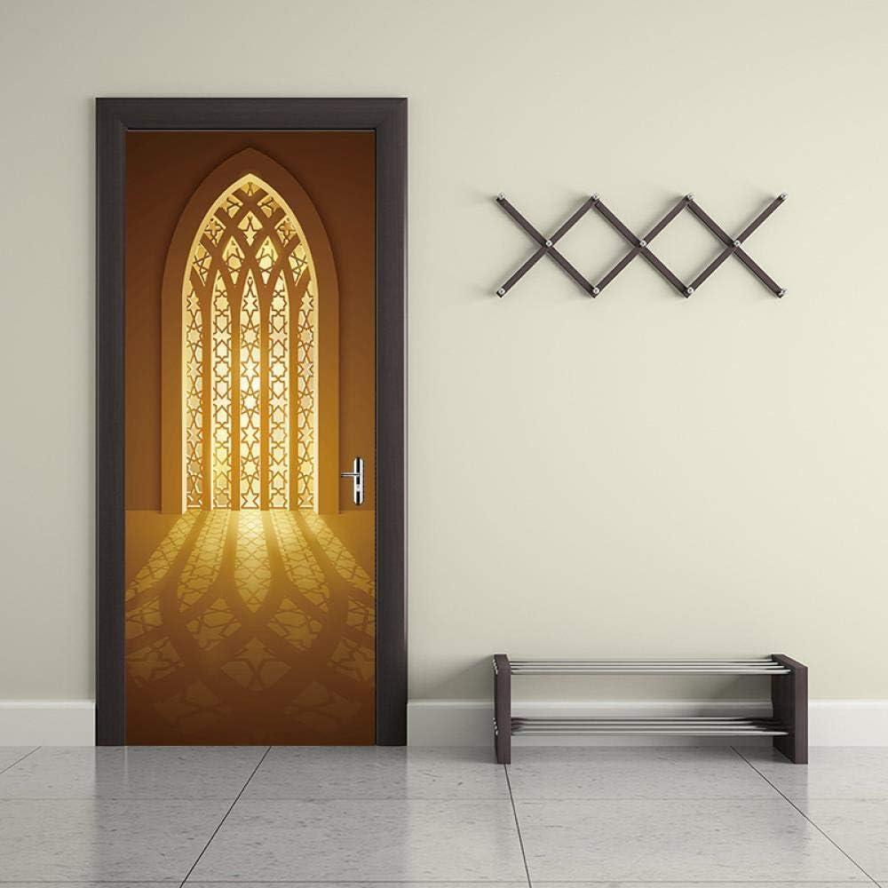 FCFLXJ 3D Adhesivos para puertas Entrada musulmana 95x215cm PVC Adhesivo Fotográfico Vinilos Puerta Pegatina Pared Murales para Cocina Sala de Baño Decorativos