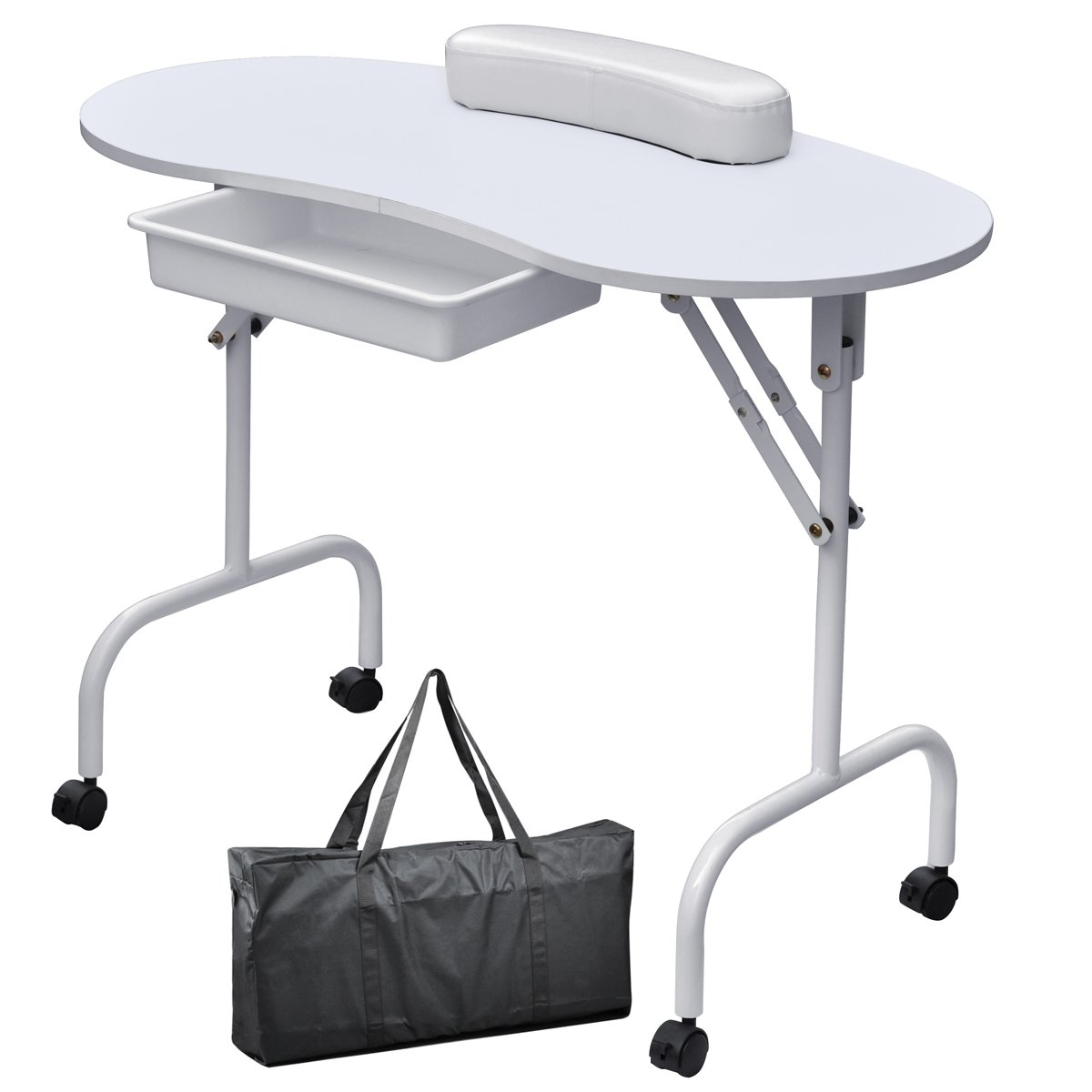tinxs Professional Collapsible Manicure Nail Art Table Folding Foldable Portable Technician Desk Station Workstation with Pull Out Drawer/ Carry Bag/ Wrist Rest (White)