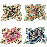 Grace Scarves 100% Silk Scarf, Large, Set of 4, Divine Mandala Sunburst, Twill
