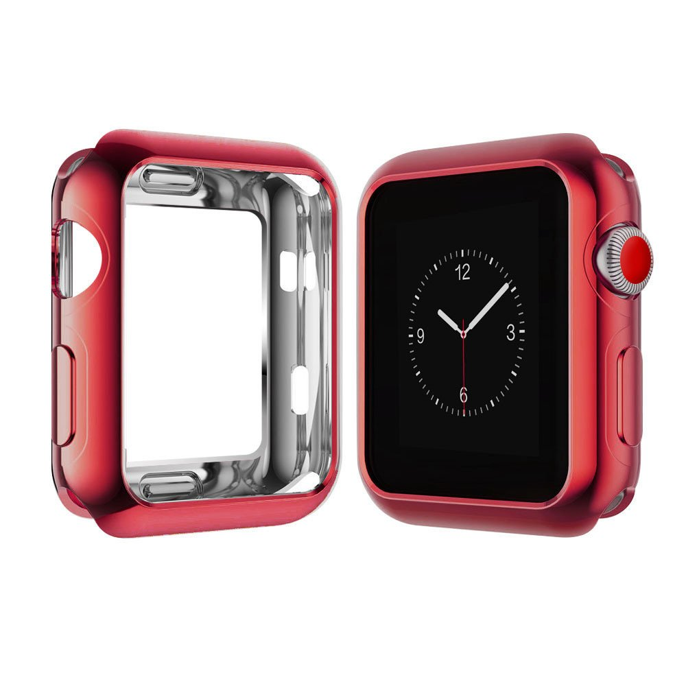 Weite Scratch-Resistant Soft Flexible TPU All-Around Protective Case, High Definition Clear Ultra-Thin Cover Compatible Apple Watch Case 42mm Iwatch Series 2/3 (Red)