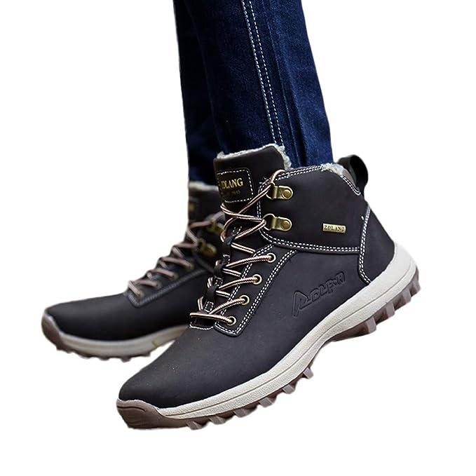 Zapatos de hombre JiaMeng Zapatos con Cordones Botas Resistentes al Aire Libre Resistentes al Deslizamiento al Aire Libre Que suben los Zapatos de los ...