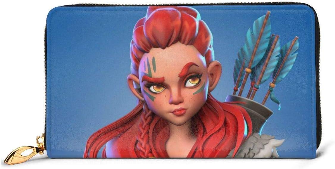 JHGFG Horizon Zero Aloy Pelo Rojo Mujer Ojos Cartera Cuero Cremallera Alrededor Cartera Cartera Organizador.